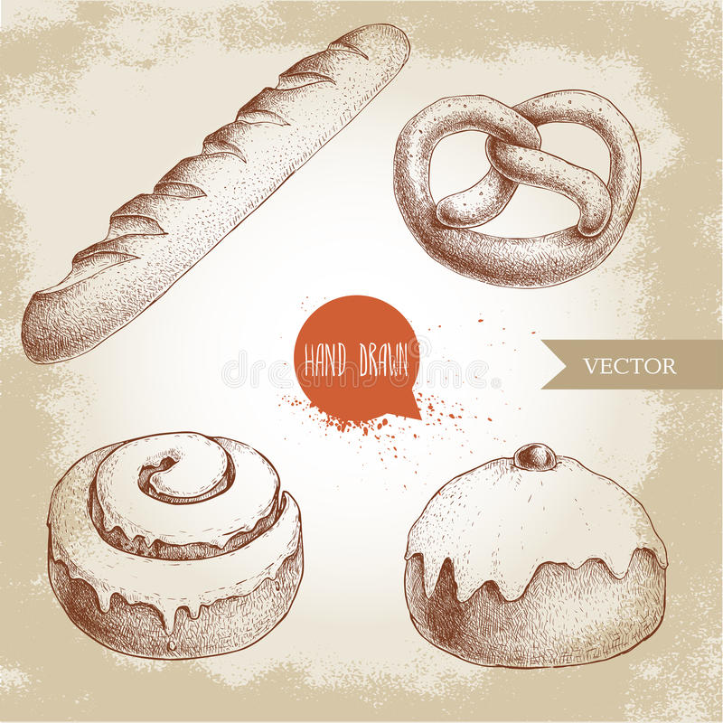 Hand drawn sketch style bakery goods illustrations set. Fresh salted pretzel, french baguette, iced cinnamon bun and iced bun. With cherry. Daily product. Fresh vector illustration