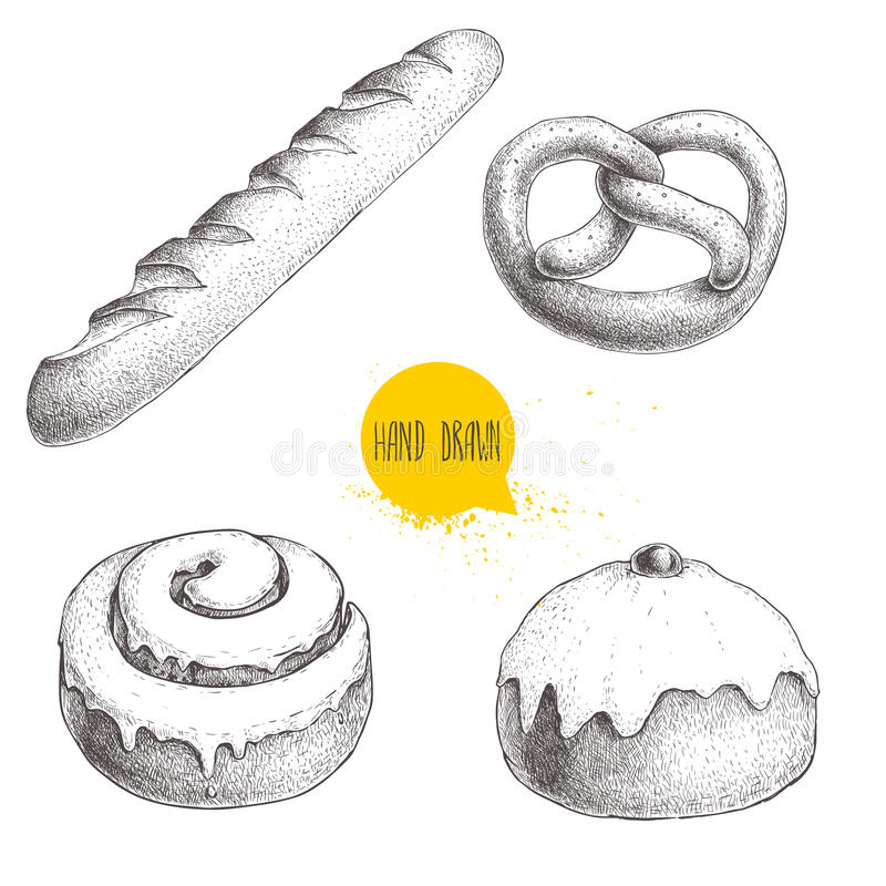 Hand drawn sketch style bakery goods illustrations set isolated on white background. Fresh salted pretzel, french baguette, iced c. Innamon bun and iced bun with royalty free illustration