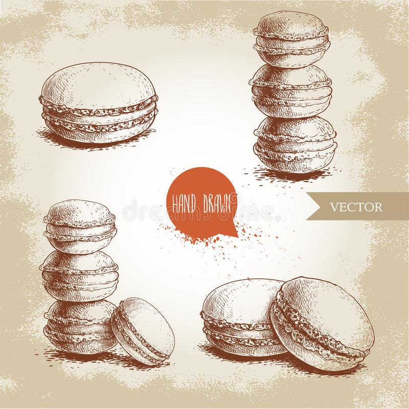 Hand drawn sketch style french pastry macarons set. Collection of sweet goods for menu design, restaurants and shops. Vector illustrations stock illustration