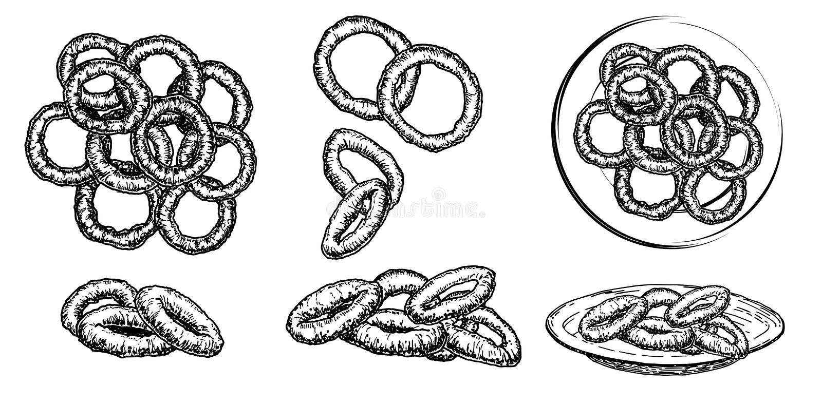 Hand drawn sketch style roasted onion rings set. Street fast food vector illustrations collection royalty free illustration