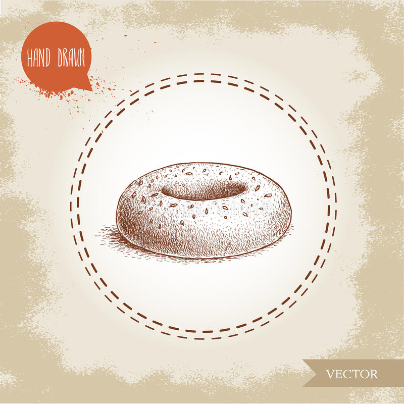 Hand drawn sketch style sesame bagel. Daily fresh bakery illustration. Vintage drawing of fresh bakery goods stock illustration