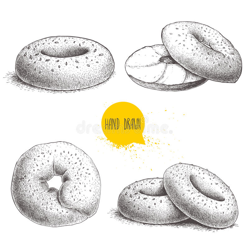 Hand drawn sketch style sesame bagels set on white background. Bagel, sliced bagel with cream cheese. vector illustration