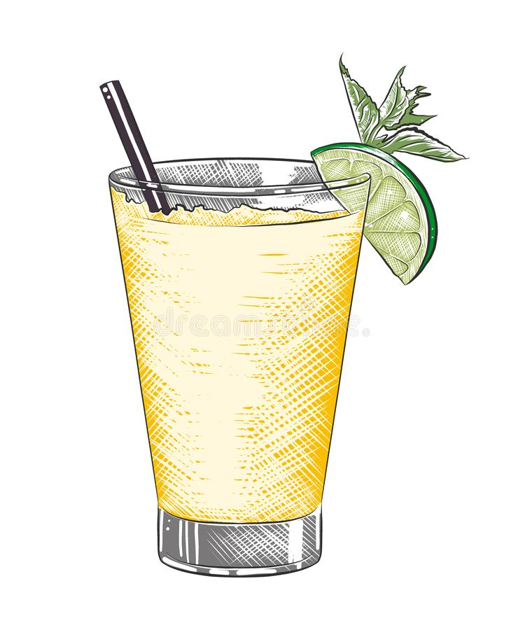 Hand drawn sketch of tequila shot alcoholic cocktail, colorful isolated on white background. stock illustration