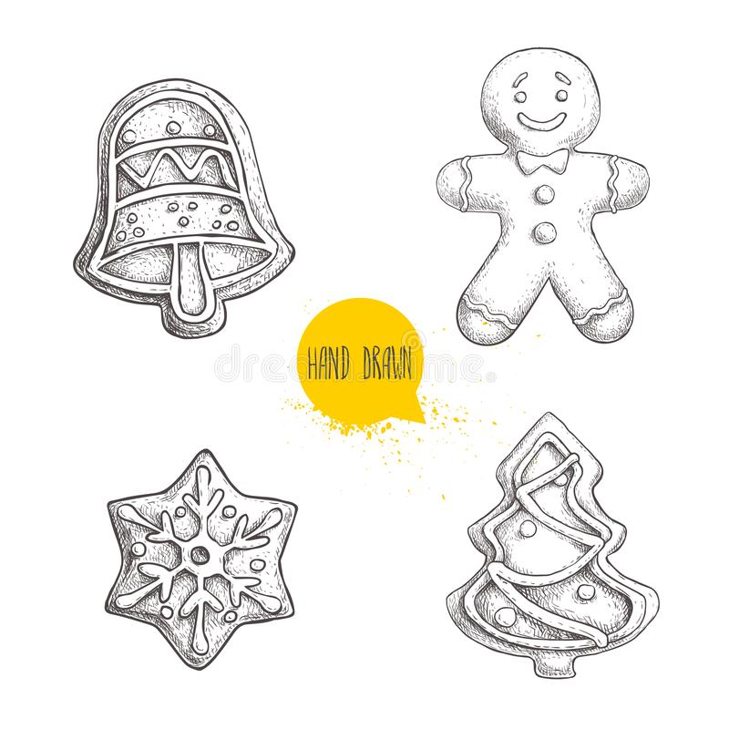 Hand drawn sketch traditional Christmas cookies set. Hand bell. gingerbread men, snowflake and christmas tree. vector illustration