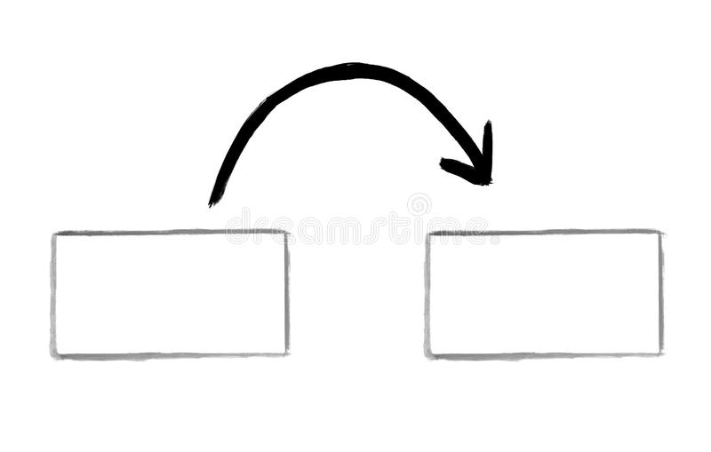 Drawing of two empty boxes with arrow vector illustration