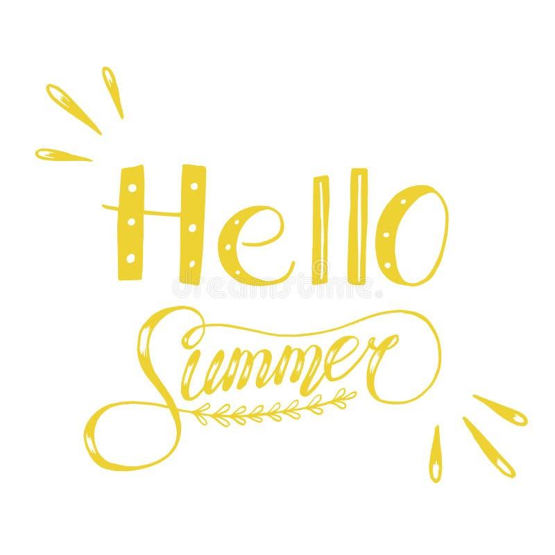 Hand drawn sketch  illustration on white background, design elements. Lettering summer time stock illustration