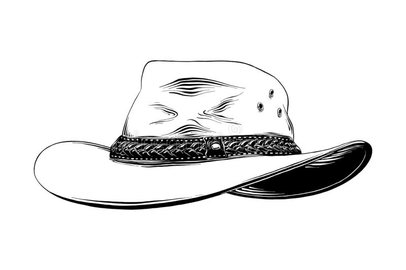 Hand drawn sketch of western cowboy hat in black isolated on white background. Detailed vintage etching style drawing. Vector engraved style illustration for royalty free illustration