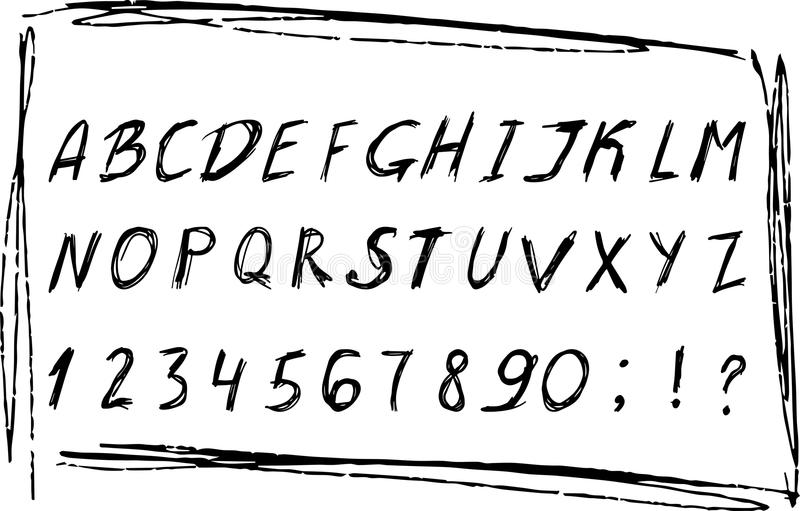 Hand drawn sketched alphabet with numbers. Black grunge ink font. Vector illustration EPS10. stock illustration