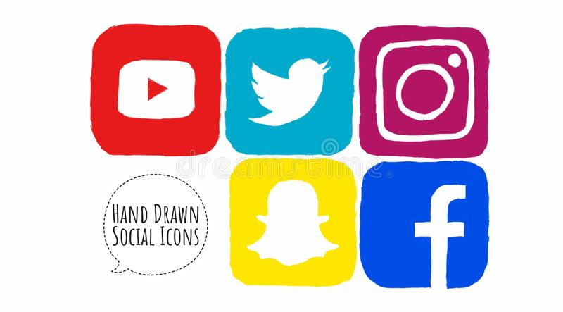 Sketched Social Media Icons. Hand drawn, sketched colorful social media icons for Youtube, Snapchat, Instagram and Facebook. Ready for use on the web and on royalty free illustration