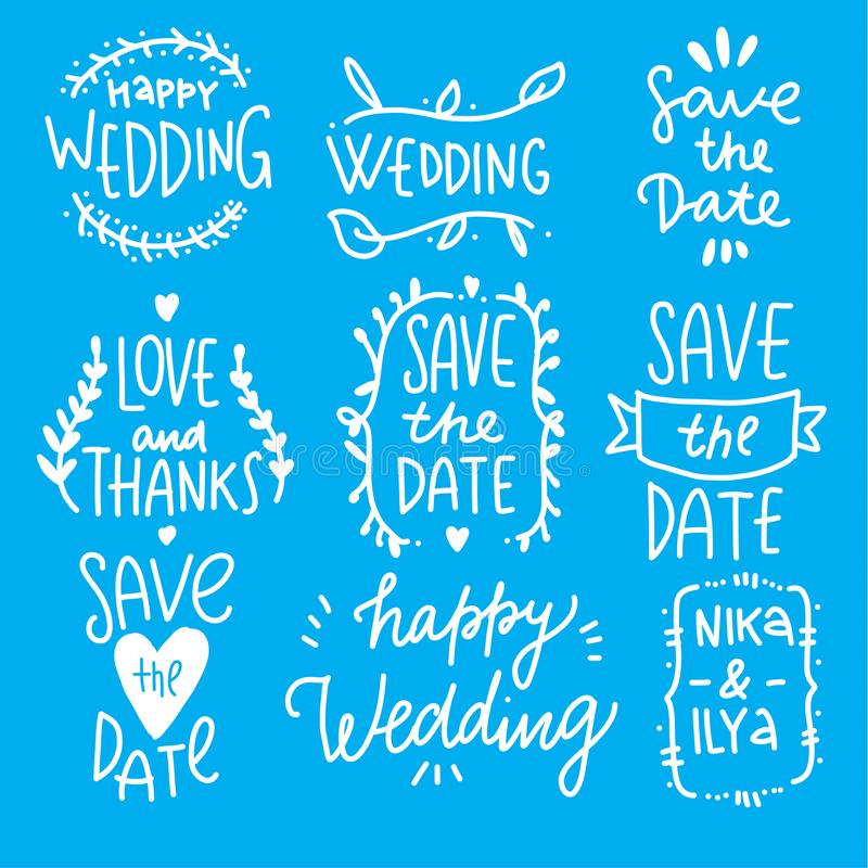 Hand drawn sketched wedding elements set. stock illustration