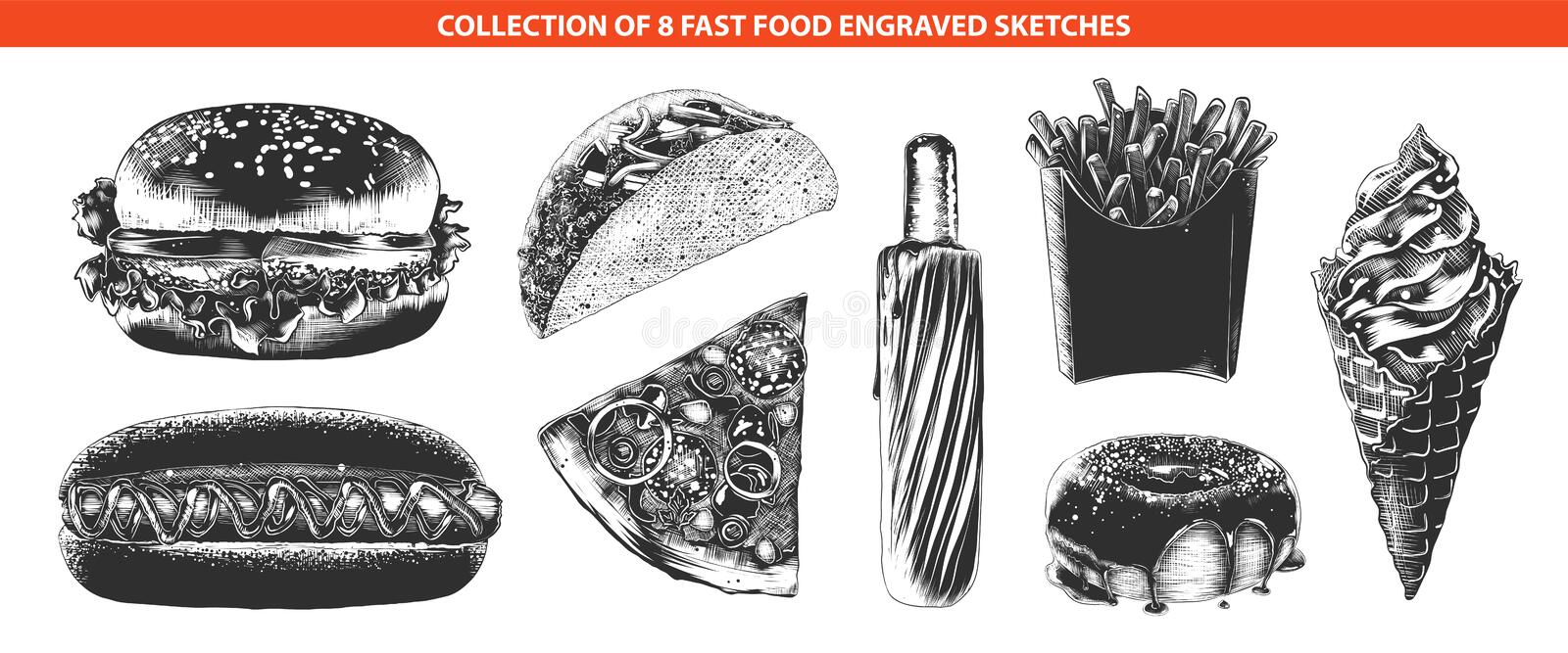 Hand drawn sketches of in monochrome isolated on white background. Detailed vintage woodcut style drawing. Vector engraved style fast food menu collection for stock illustration