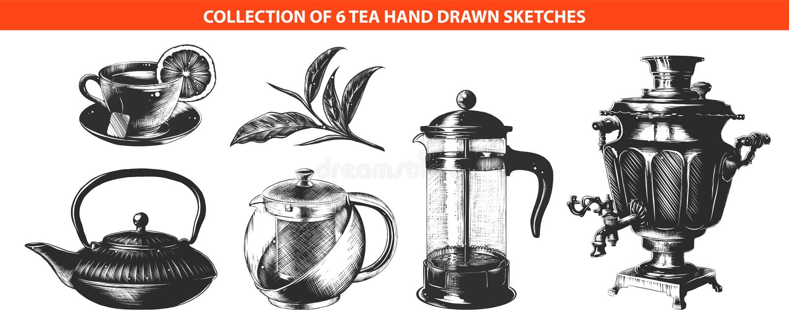 Hand drawn sketches of in monochrome isolated on white background. Detailed vintage woodcut style drawing. Vector engraved style tea drink collection for posters stock illustration