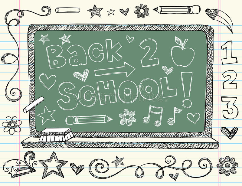 Hand-Drawn Sketchy Back to School Doodles. Hand-Drawn Sketchy Back to School Notebook Doodles. Vector Illustration with school chalkboard, music notes, pencil stock illustration