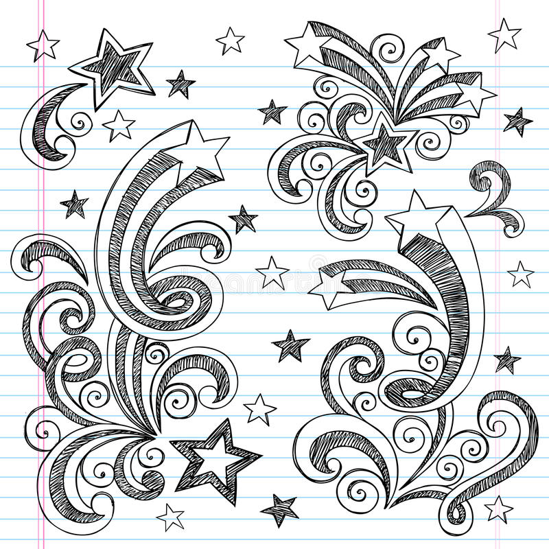 Hand-Drawn Sketchy Back To School Doodles Stock Photos