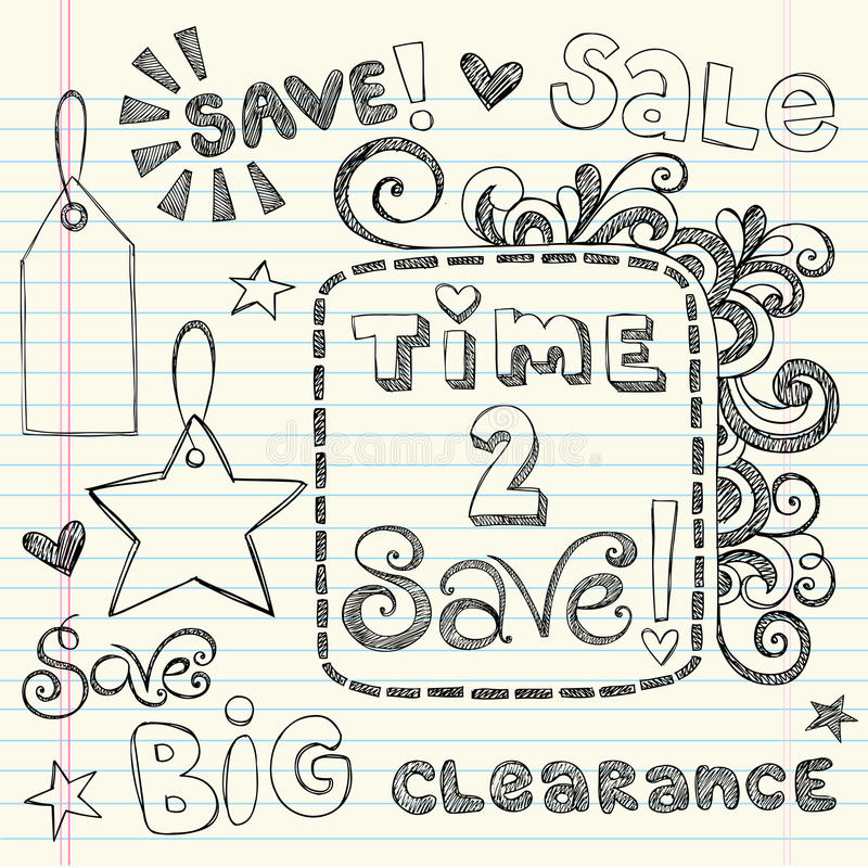 Hand-Drawn Sketchy Coupon Doodles Royalty Free Stock Photography