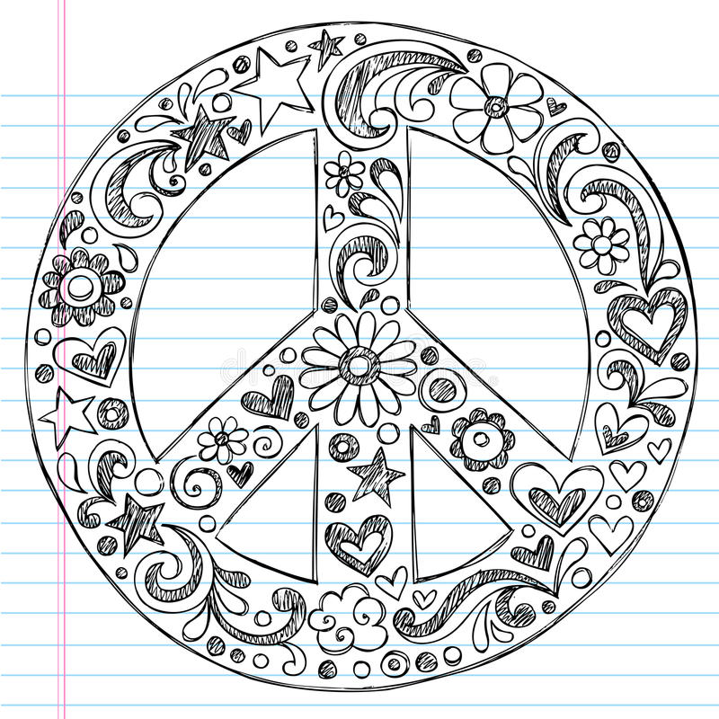 Hand-Drawn Sketchy Peace Sign Doodles stock illustration