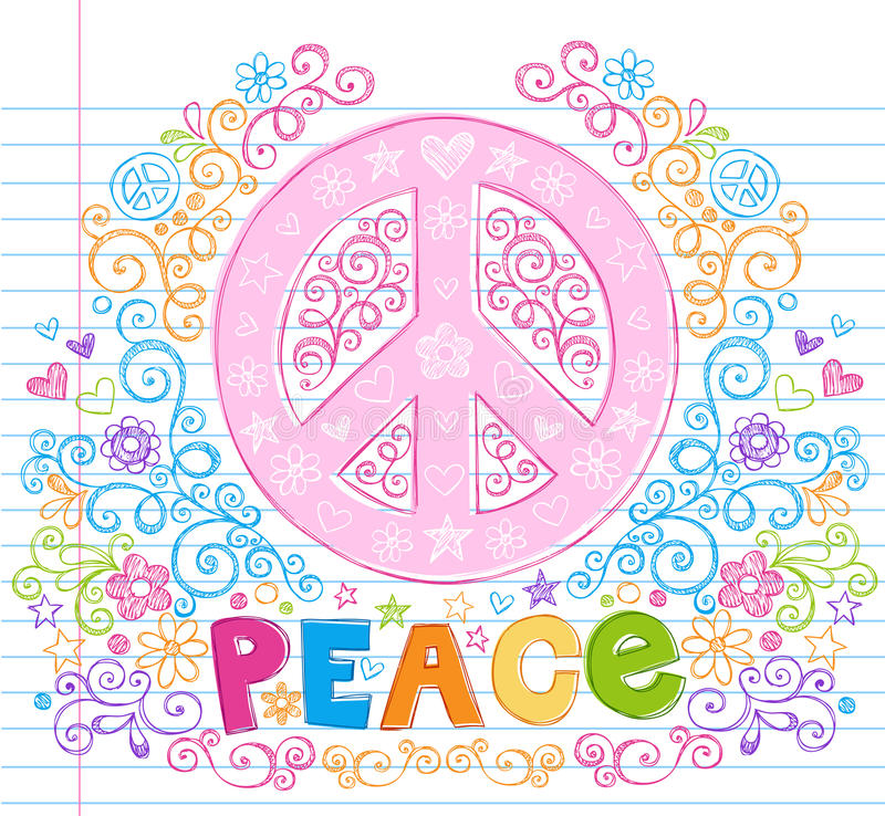 Hand-Drawn Sketchy Peace Sign Lettering Doodles vector illustration