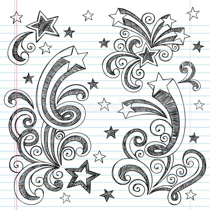 Hand-Drawn Sketchy Shooting Stars Doodles vector illustration