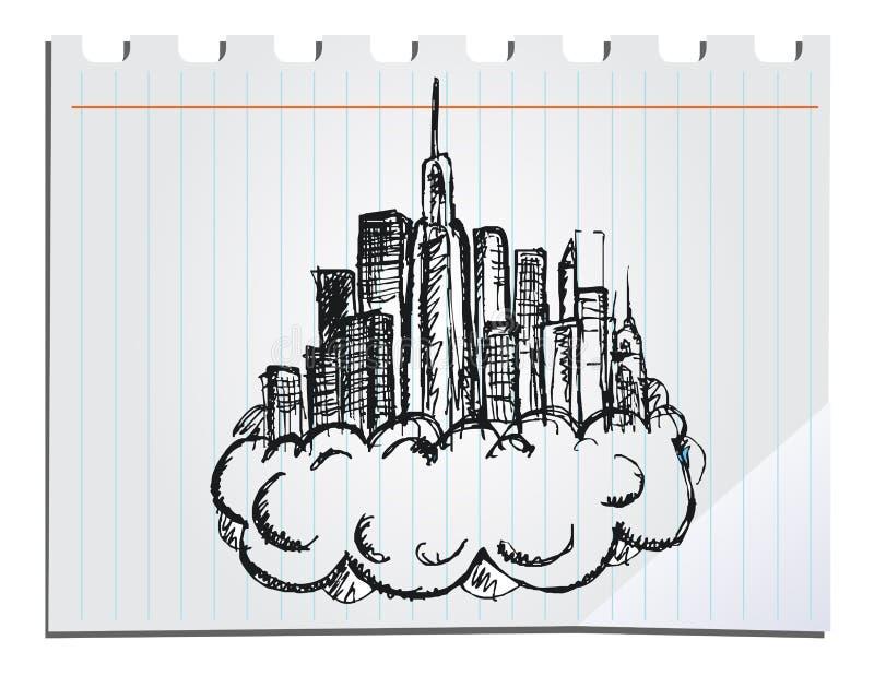 Hand drawn skyscrapers vector illustration