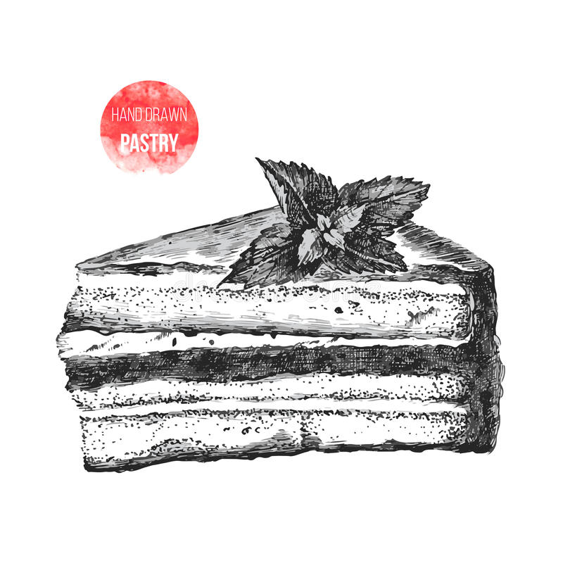 Hand drawn slice of cake with mint. Hand drawn black and white slice of cake with mint stock illustration