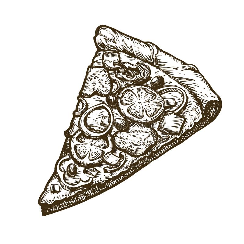 Hand drawn slice of pizza. Food, Italian menu. Sketch vector illustration. Isolated on white background vector illustration