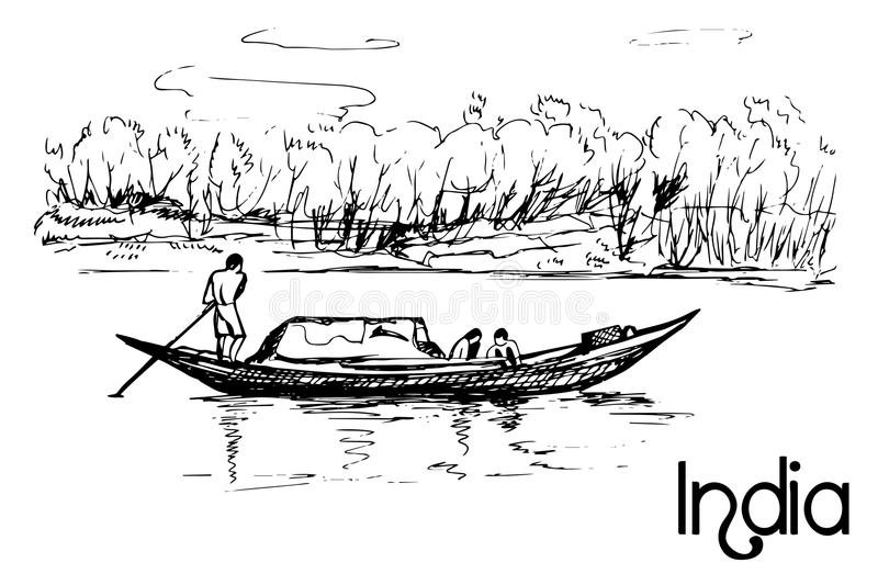 Hand drawn small boat with people royalty free illustration