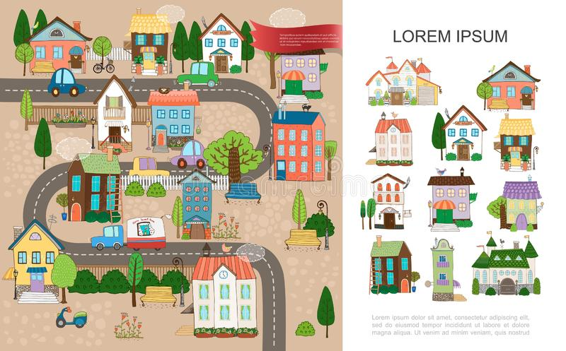 Hand Drawn Small Town Concept stock illustration