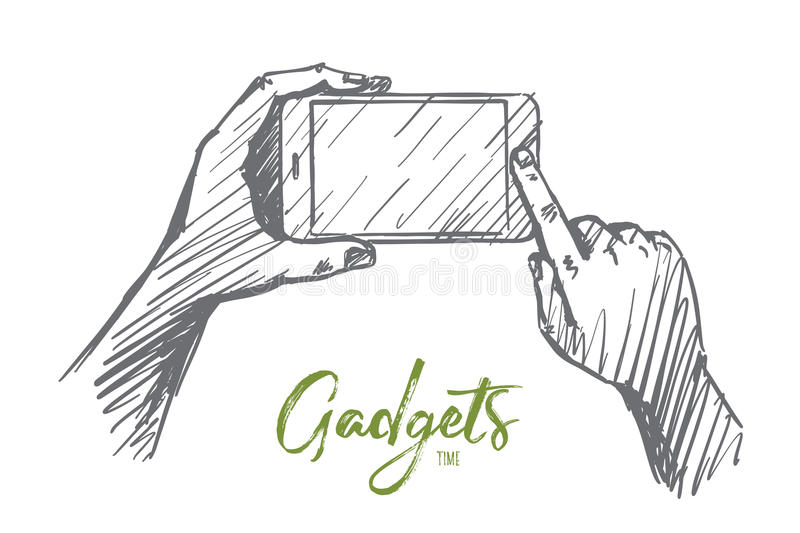 Hand drawn smartphone in human hands, lettering royalty free illustration