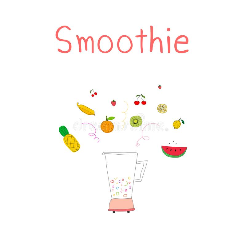 Hand drawn smoothies set includes pineapple, strawberry, banana, kiwi, tangerine, lemon and cherry. Blender with fruits. royalty free illustration