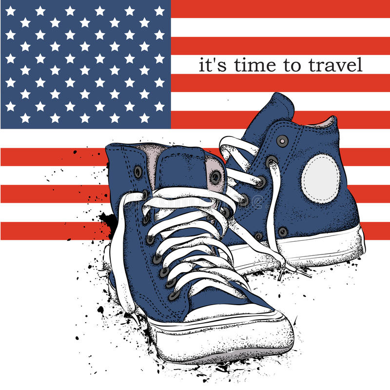 Hand drawn sneakers on background. Print of USA flag. hand drawn vector illustration stock illustration