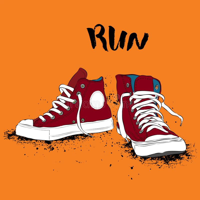 Hand drawn sneakers on white background. Run Concept. Vector illustration stock illustration