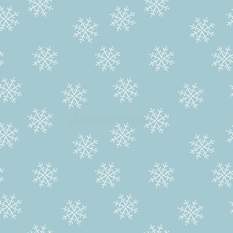 Hand drawn Snowflakes on blue background . Seamless pattern stock illustration