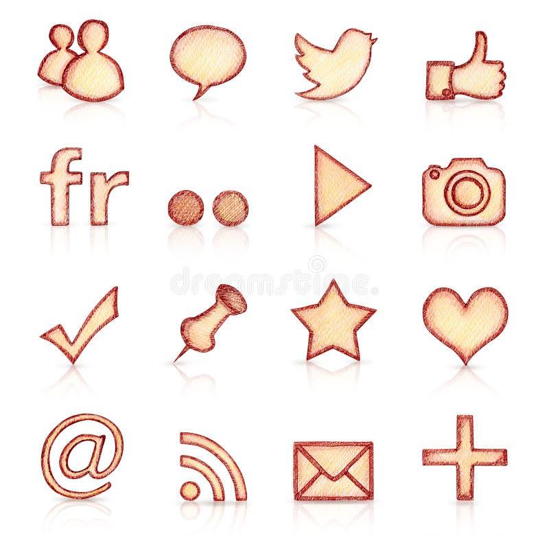 Hand drawn social icons royalty free illustration