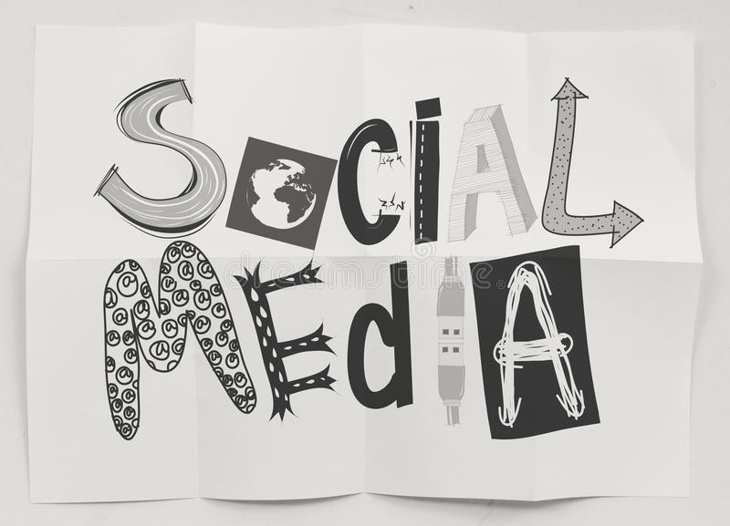 Hand drawn social media icons on crumpled paper background as co stock illustration