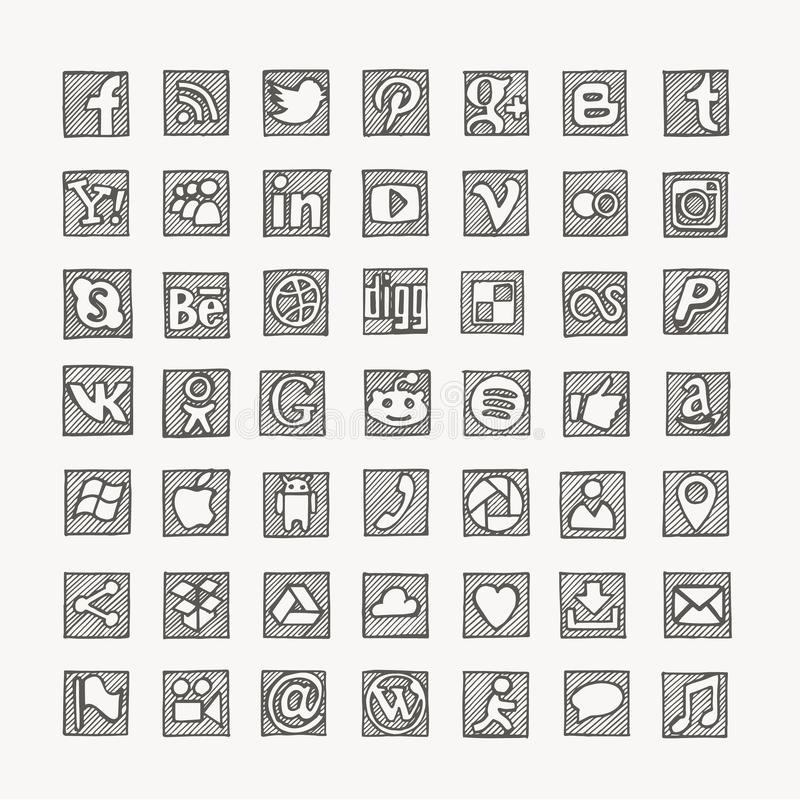 Hand drawn social media network icons. vector illustration