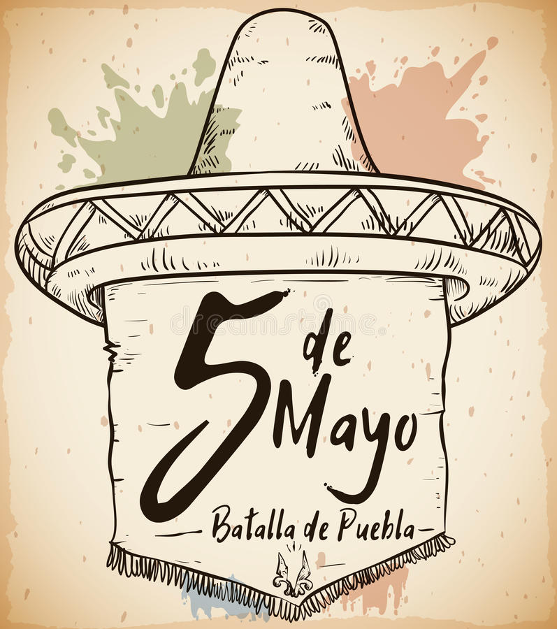Hand Drawn Sombrero for Mexican Cinco de Mayo Celebration, Vector Illustration. Hand drawn poster with traditional Mexican straw hat and pennant with fringes stock illustration