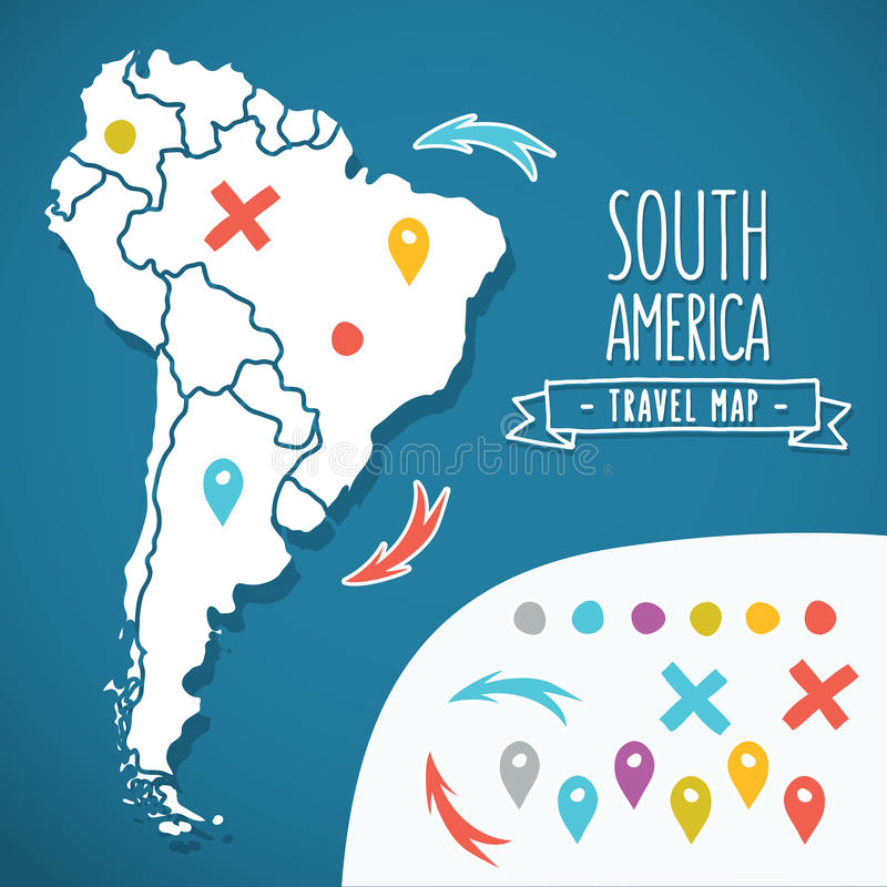 Hand drawn South America travel map with pins royalty free illustration