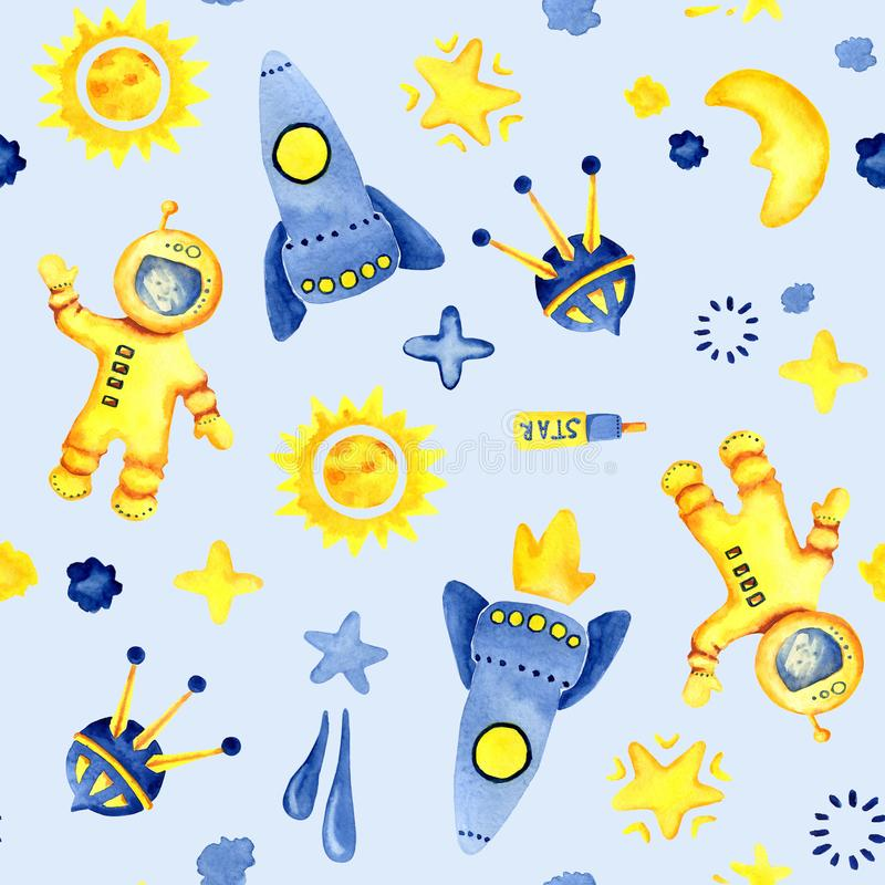 Hand drawn space elements seamless pattern. Space watercolor illustration and background. Cartoon space rockets, planets, stars royalty free illustration