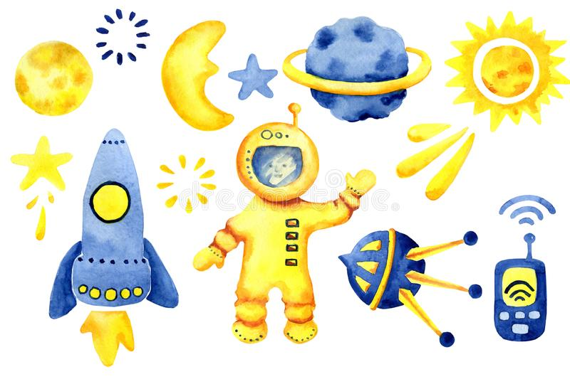 Hand drawn space elements. Space watercolor set. Cartoon space rockets, planets, stars, moon for design nursery and boys products. Print, card royalty free stock photo