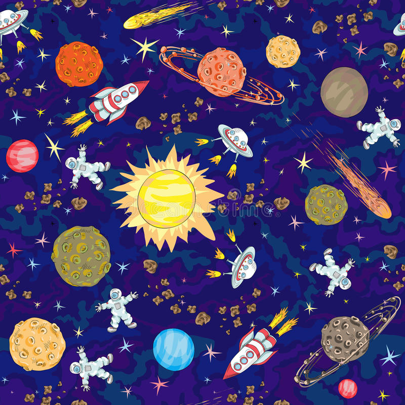Hand drawn space seamless pattern. kids background royalty free illustration