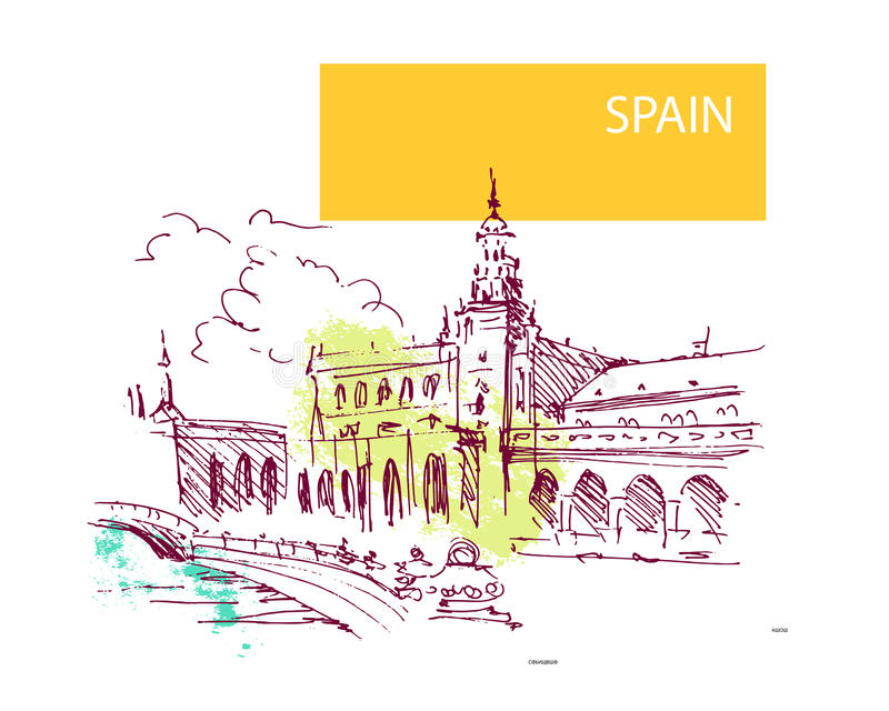 Hand drawn Spain street sketch. Historic city view. Nature, architect picture. Touristic sight seeing. Print design, book, article illustration. Europe vector illustration
