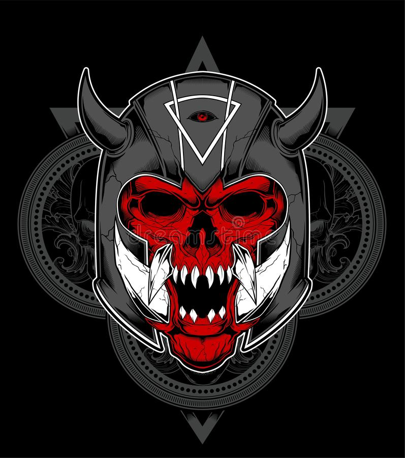 Hand drawn Spartan warrior skull wearing ancient helmet. Vector illustration - Vector royalty free illustration