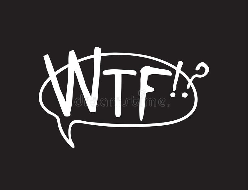 Hand drawn speech bubble with text on black chalk board  background. Vector pop art object and word WTF!? Doodle element for. Dialog or comic stock illustration