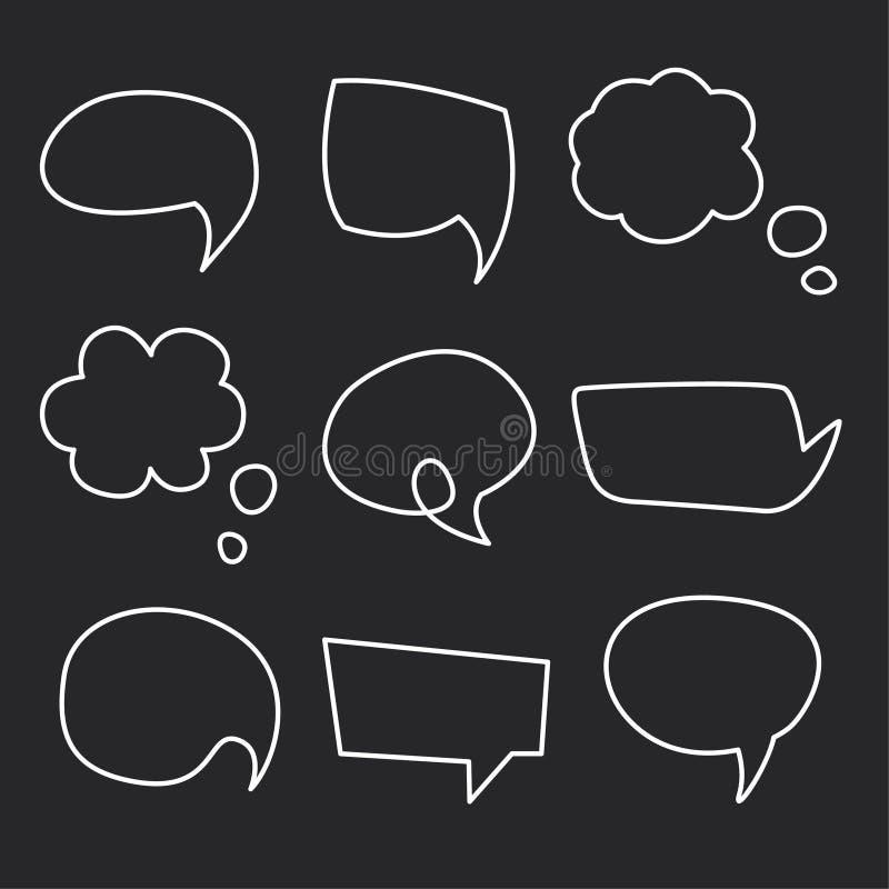 Hand drawn speech bubbles chalk on blackboard vector illustration