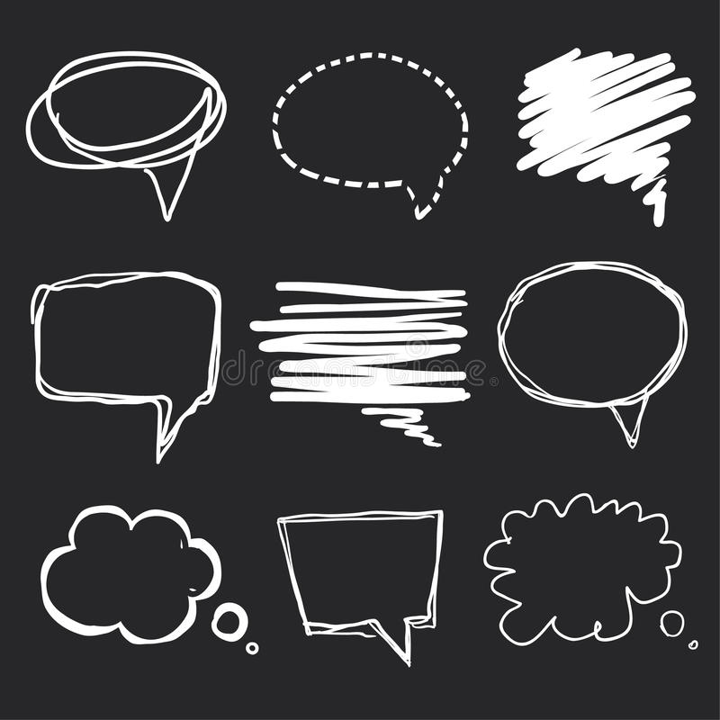 Hand drawn speech bubbles chalk on blackboard stock illustration