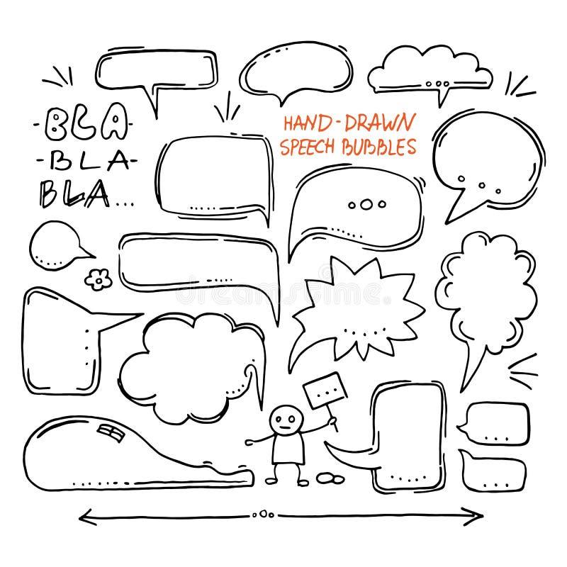 Hand drawn speech bubbles royalty free illustration
