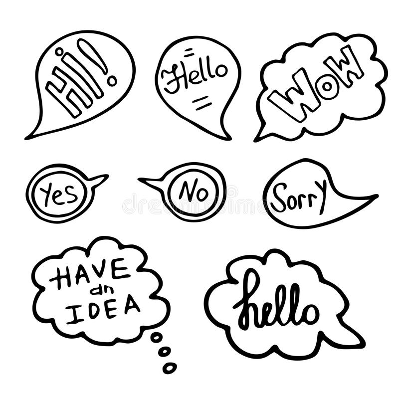 Set Of Doodle Speech Bubbles Royalty Free Stock