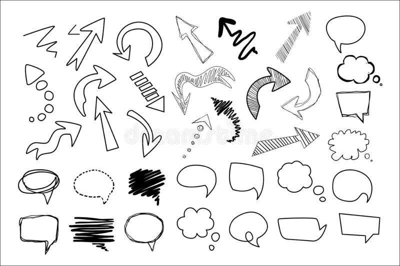 Hand drawn speech and thought bubbles big set, design elements collection vector illustration royalty free illustration