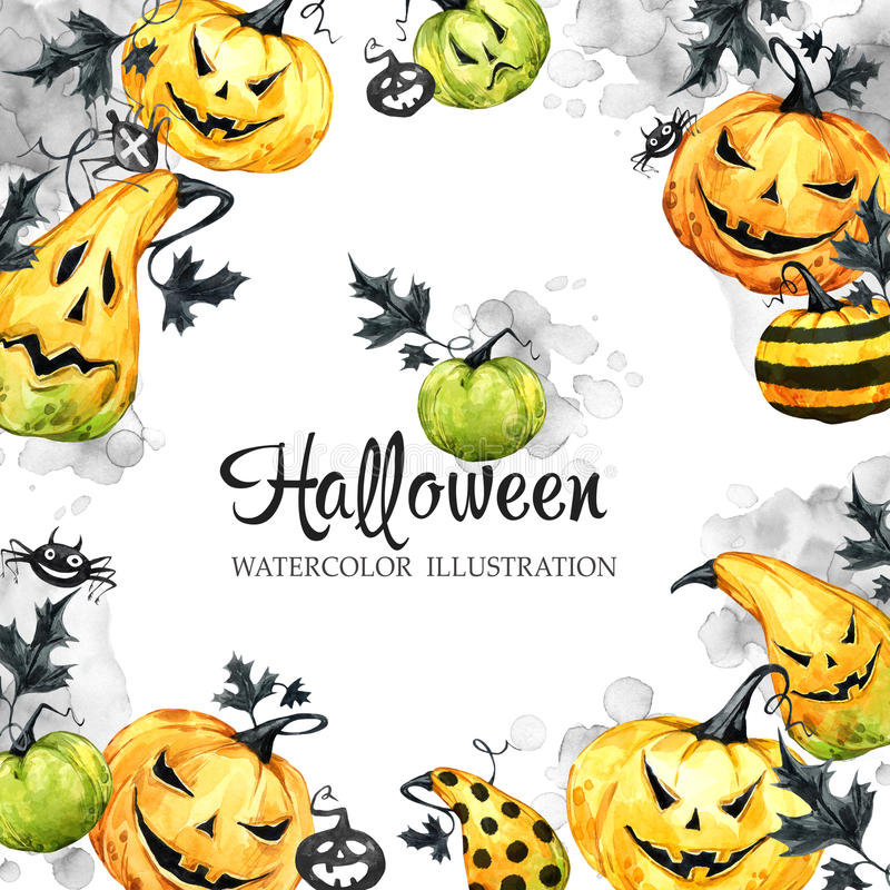 Hand drawn square frame with watercolor pumpkins and leaves. Halloween holiday illustration. Funny food. Magic, symbol vector illustration