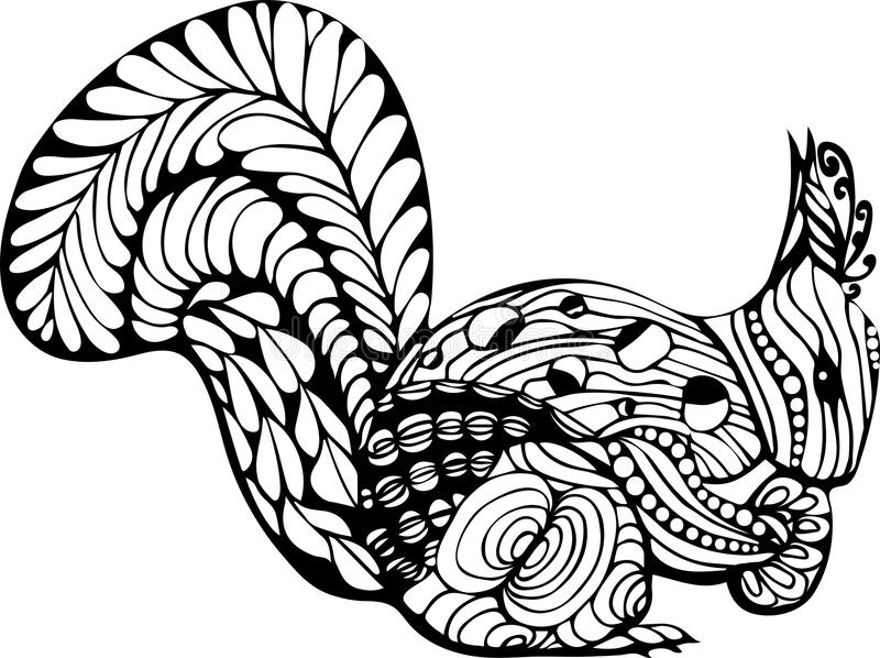 Download Hand Drawn Squirrel Zentangle Style For Coloring Booktattoot Shirt Design